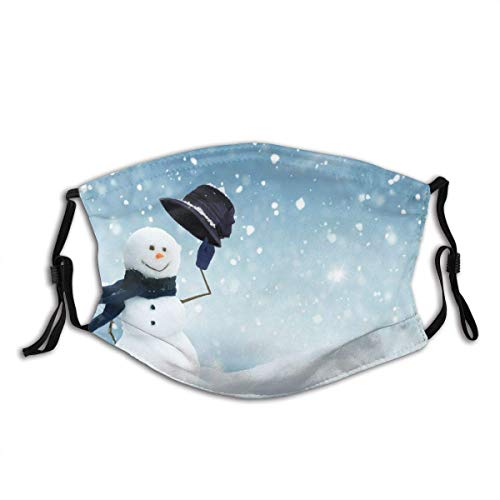 Schutzmaske Masken Mouth Scrat Face Cover Wiederverwendbares Half Face Bandana, Happy Snowman Standing Winter, Verstellbarer Sport Outdoor Mundschutz