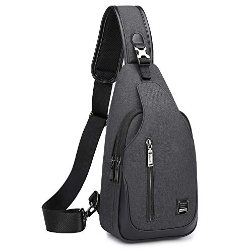 Large Sling Bag for Men Crossbody Shoulder Daypack for Mens Waterproof Sling Backpack with Adjustable Shoulder Strap Chest Sling Bag for Hiking Walking Biking Travel Cycling(Black)