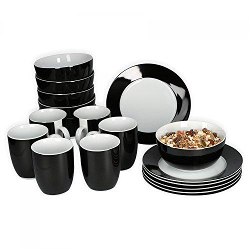 Van Well Frühstücksset 18-TLG. für 6 Personen Serie Vario Porzellan - Farbe wählbar, Farbe:schwarz