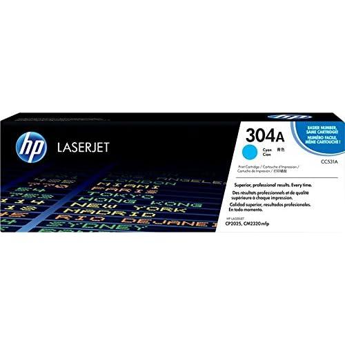 HP 304A CC531A, Cartuccia Toner Originale, da 2800 Pagine, È Compatibile con le Stampanti HP Color Laserjet Serie CP2020 e CM 2300, Ciano