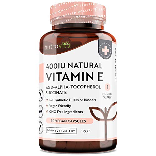 Vitamin E 400IU D-Alpha Tocopherol – 100% Natural Vitamin E – 30 Vegan Capsules – Highly Absorbable – 1 Month Supply – Protects Cells from Oxidative Stress – Made in The UK by Nutravita