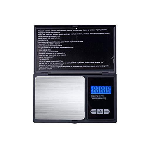 CWTC Báscula de Cocina Multifunción, Básculas de Joyería 0.01g Báscula de Mini Bolsillo Portátil de Precisión Pantalla LCD Digital PCS Características báscula electrónica (Size : 500G/0.1)