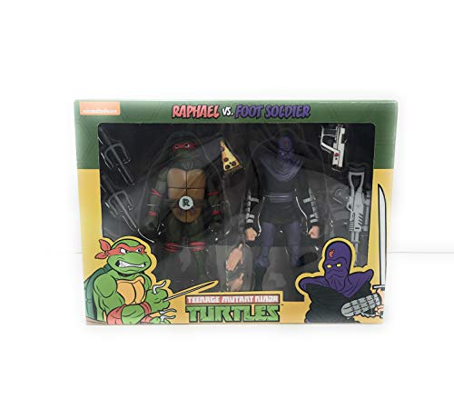 Turtles Teenage Mutant Ninja 7 Inch Scale Action Figure Cartoon Raphael Vs Foot Solider 2 Pack