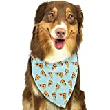 TOLUYOQU Pizza Cartoon Pattern Dog Bandanas Washable Triangle Dog Bibs Kerchief Scarf Accessories for Small to Large Dogs Cats Pets