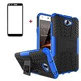 FullProtecter Funda Huawei Y5 II Grados Caso Caja Azul, Anti-Choquesy Anti- Arañazos Silicona Case para teléfonos móviles Antigolpes TPU +2 Pack Protector de Pantalla para Vidrio Templado