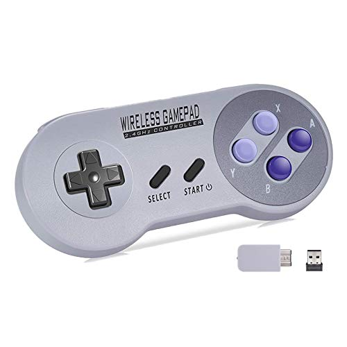 Hawiton Wireless Controller 2.4GHz for SNES/ NES Classic Mini Original Edition, Plug & Play Rechargeable Retro Gamepad with USB Receiver Joystick Super NES Game Controllers for PC/Windows/iOS/ Android