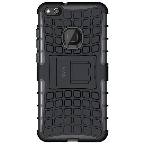 ykooe Cover Huawei P10 Lite, Silicone Custodia per Huawei P10 Lite Custodie Doppio Strato Ibrido Case - Nero