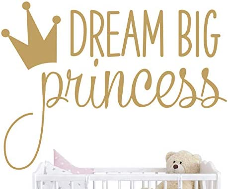 Dream Big Princess with Crown Wall Decal Vinyl Sticker for Kids Baby Girls Bedroom Decoration product image