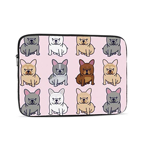 Frenchie Pattern Dog French Bulldog Cute 15 inch Laptop Bag Neoprene Universal Sleeve Zipper Protective Cover Case