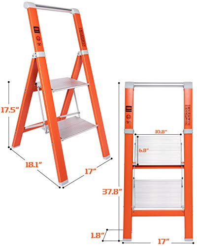 MECHREVO 2 Step Ladder, 3 Ft Portable Lightweight Aluminum Ladder, 330lbs Capacity, Easy to Store