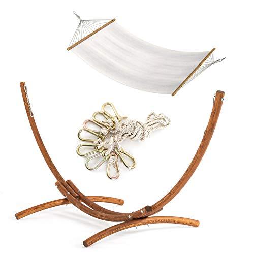 Pack de soporte de madera de alerce para hamacas modelo Malasia y hamaca colgante con traviesas.