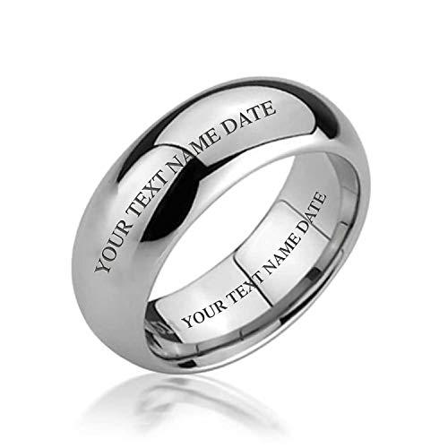Bling Jewelry Coppie Dome Fede Nuziale Anelli di Tungsteno Peri Uomini per Donne d'Argento Lucidato Comfort Tono Montare 6Mm