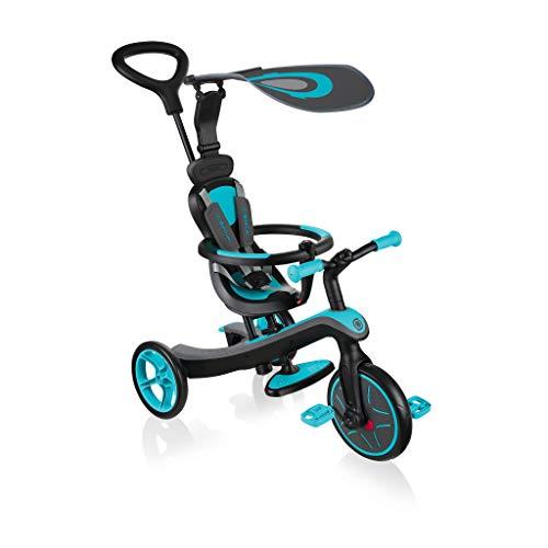 Globber - EXPLORER TRIKE 4 en 1 - Tricycle évolutif & draisienne pour les tout-petits âgés de 10m+ à 5 ans + , Bleu Canard