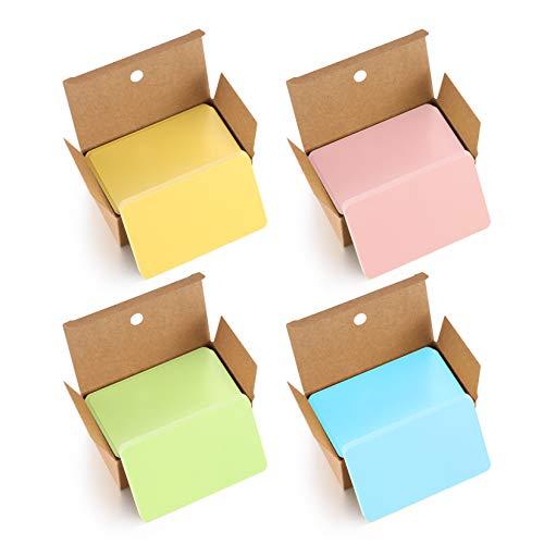 400 Stück Blanko Papier Karten, Farbige Kraftpapierkarten, Bunte Karteikarten, Memory Karten Blanko, Visitenkarten Papier, Lernkarten Leer für Lernen, Heimwerken, Gedächtnis (Pink/Grün/Gelb/Blau)