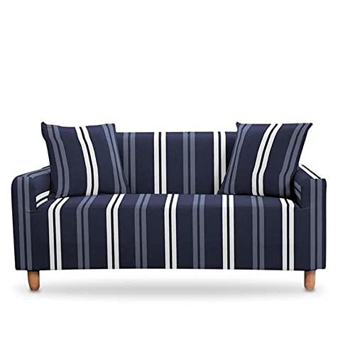 Funda de sofá con diseño de barra azul y negro para cuatro estaciones para sala de estar, protector de muebles de salón, 2 asientos