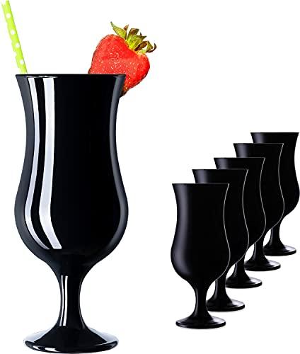 PLATINUX Juego de 6 vasos de cóctel negros, máx. 470 ml, vasos largos para fiestas, vasos de cristal Milkshake