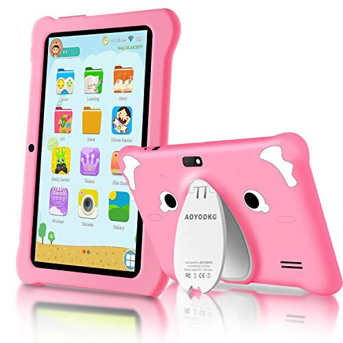 Tablet para Niños Android 10.0 (Certificación Google GMS) 3GB RAM+32GB ROM/128GB 7.1 Pulgadas HD 5.0MP Cámara Quad Core Tablet Infantil de Kid-Proof Funda Tablet Niños Educativo (Rosado)