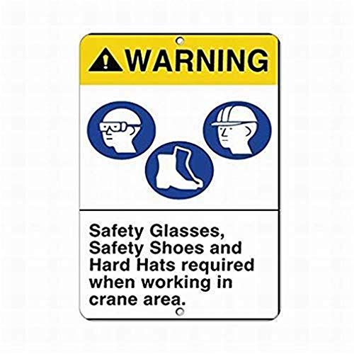 Easy to Mount Indoors & Outdoors 12x16inches,Safety Glasses Safety Shoes Hard Hats Sign,Best in Metal Sign Retro Home Decoration for Bar Pub Home Activity Sign Campground Signs Parksign