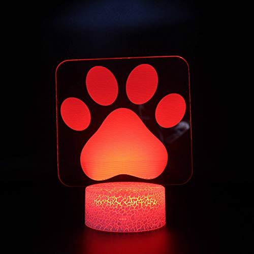 Fantasy Perro pata 3D Luz de Noche 16 Cambio de Color Lámpara Acrílico Plano ABS Base USB Cargador Decoración del Hogar Juguete Brithday Navidad Niño Niños Regalo