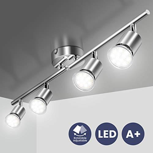 Elfeland Deckenlampe LedDeckenleuchte Schwenkbar inkl. 4 x GU10 Fassungen Deckenstrahler Spotbalken Wohnzimmerlampe Drehbar 230V Spotleuchte für Küche Wohnzimmer Schlafzimmer (ohne Lichtquelle)