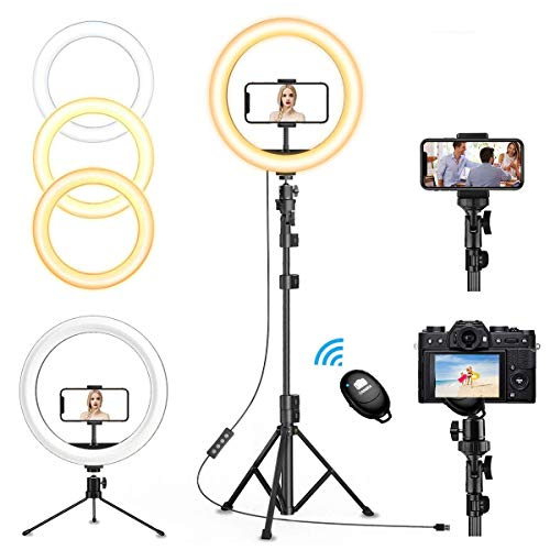 """12"""" Selfie Ring Light with 63"""" Adjustable Tripod Stand & 2 Cell Phone Holders, QI-EU Dimmable Led Camera Ringlight for Live Stream/Makeup/YouTube/TikTok/Photography for iPhone and Android"""