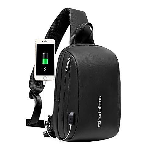 Arctic Hunter Sling Bag Herren, Brusttasche mit USB, Wasserdicht, Anti-Diebstahl, Crossover Bag zum Radfahren, Wandern, Reisen, Schwarz