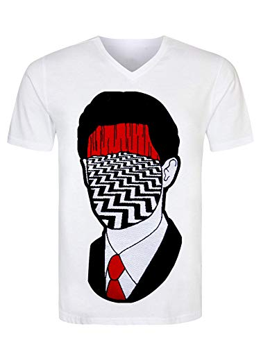 Twin Peaks TV Show Series Dale Cooper Head Red Room Art Drawn Men's T-Shirt V Neck Herren Tshirt Large