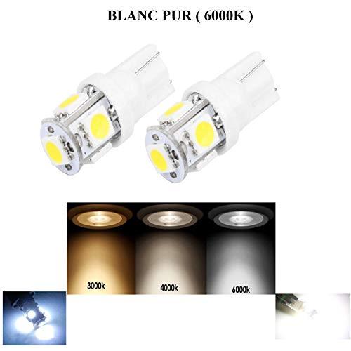 Afbyok W5 W LED-lampen (2 stuks) 5 LED's binnen wit fitting T10 paar wit zuiver wit Vision zonder foutmelding 12 V 6000 K ultrahoge kwaliteit plafondlamp kofferbaklamp handschoenenvak