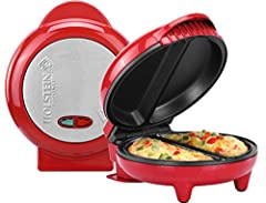 With the Omelet Maker, using your fry pan is a thing of the past Easily make delicious and fluffy omelets without flipping Cooking and cleaning is easy with non-stick coated cooking surfaces Know when the maker is on, preheated, and ready to cook wit...