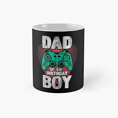 Dad Son Matching Video Game Birthday Party Design Classic Mug - Gift The Office 11 Ounces Funny White Coffee Mugs-nilinkep