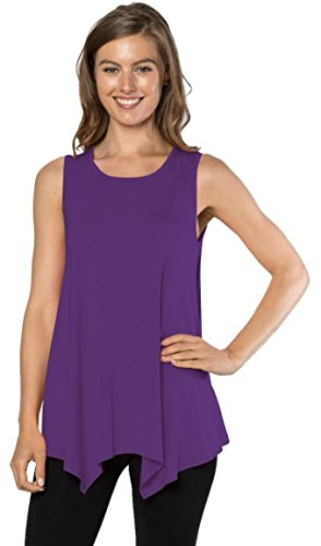 Velucci Womens Tunic Tank Top T-Shirt - Loose Basic Sleeveless Tee Shirt Blouse, (Purple-M)
