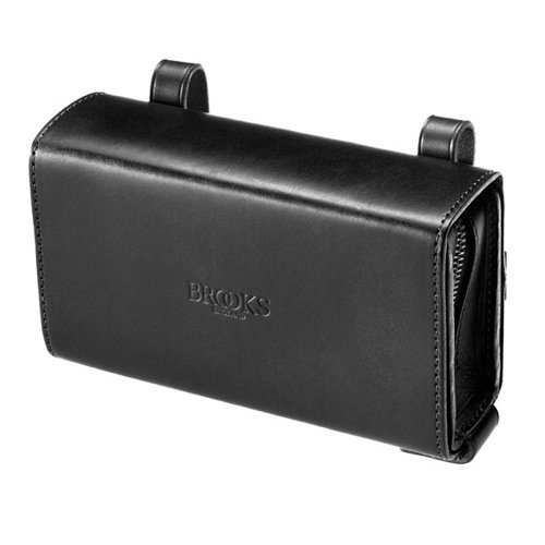 Brooks D-Shaped - Bolsa para sillín de bicicletas de cuero, color Negro