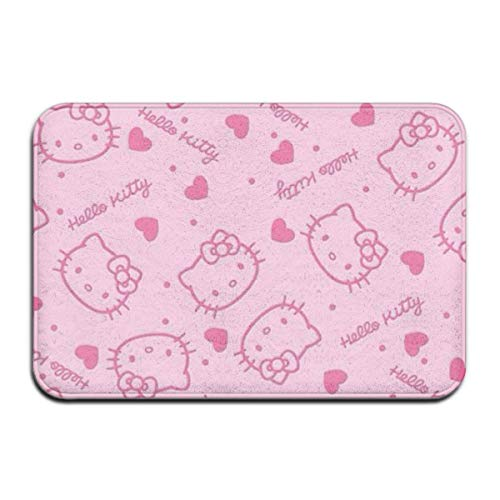 NA Felpudo para Interior/Exterior Rosa Hello Kitty Head Alfombrillas traseras de Goma Antideslizantes Alfombras de Regalo para la Entrada