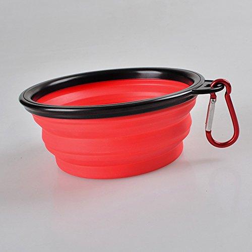 inolite mascotas portátil plegable de viaje cuenco, perro alimento agua comedero plegable cuencos con mosquetón Clip (color rojo)