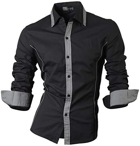 Jeansian Hommes Mode Casual Chemises Manche Longue Men's Fashion Business Formal Dress Shirt Slim Tops 8015 Black M