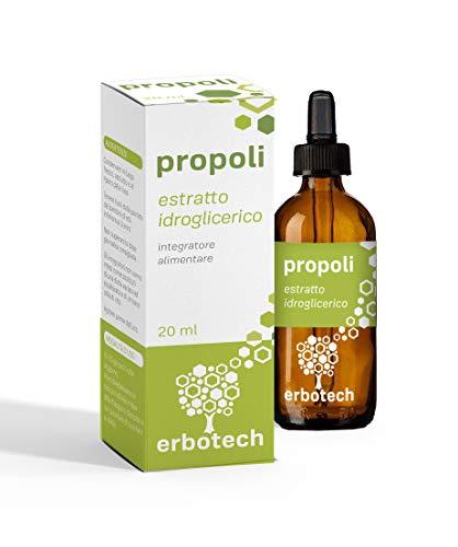 ERBOTECH Propolis mit Tropfer 20 ml, Urtinktur, reiner Extrakt, geeignet für KINDER, natürliches Heilmittel gegen Halsschmerzen, trägt zum Wohlbefinden der Atemwege bei, Made in Italy