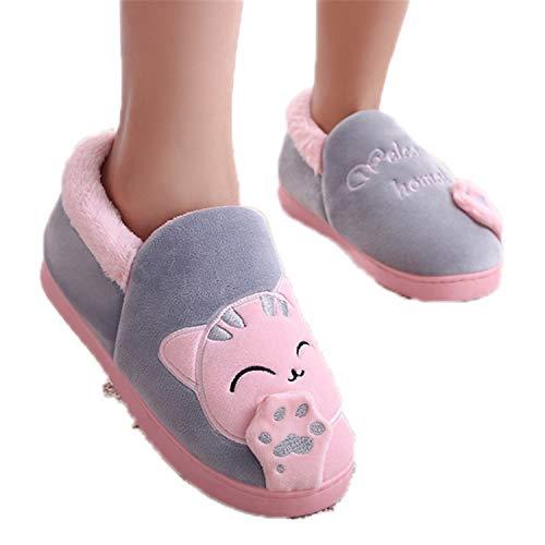 Light Women Winter Home Slippers Cartoon Cat Shoes Non-Slip Soft Winter Warm House Slippers Indoor Bedroom Love