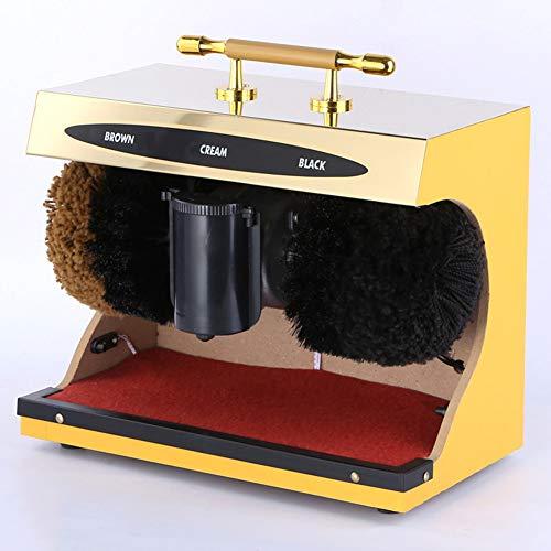 YSHCA Elektrische Schuhputzmaschine, Automatischer Schuhpolierer Poliermaschine mit SchuhbüRsteM, As A Change Shoes Hocker Business Schuhputzer für den Heimbereich,Gold Titanium