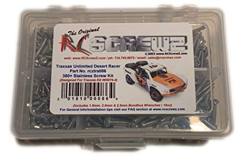 RCScrewZ Stainless Steel Screw Kit for Traxxas Unlimited Desert Racer. Replacement for RC Car Rusted and Stripped Screws, Quality Upgrade, Assembled in USA. 380+ piece for Traxxas Kit 85076-4 -tra086