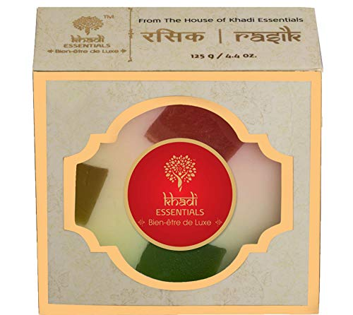 Khadi Essentials Vitamin C Rich Fruity Soap with Avocado, Almond Milk, Cocoa, Kokum Butter For Healthy Clear Skin, 125gm Natural Organic Handmade Bath Bar