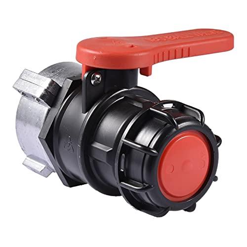 LMYDIDO IBC Adapter Wassertank Zubehör Kugelauslaufhahn S75x6 (75mm) IBC Auslaufhahn Absperrhahn für IBC Wassertank Anschluss zum Tank/Hahn