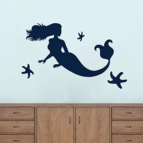 Calcomanía de pared de sirena grande y estrella de mar para habitación de niños, decoración de baño, playa náutica, arte de pared para el hogar, pegatina de vinilo para pared
