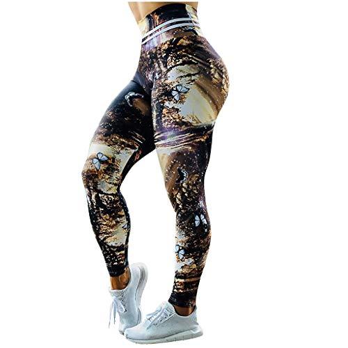 Pantalones de yoga para mujer, estampado de cintura alta, cintura elástica, pantalones para correr, fitness, yoga (Negro-S)