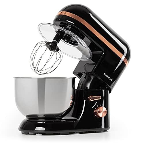 Klarstein Bella Elegance - Robot de cocina, Potencia 1300W/1,7PS, 6 niveles, Función pulso, Sistema de amasado planetario, 5 L, Cuenco acero inoxidable, Inclinación, Bloqueo de seguridad, Negro
