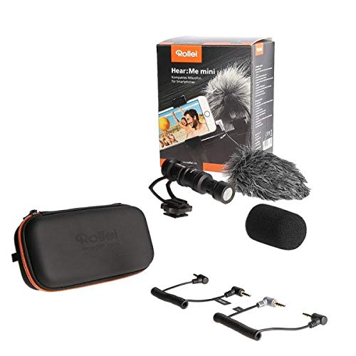 Rollei Hear: Me Mini | Micrófono compacto para smartphones | Micrófono ligero para cámara | Micrófono de vídeo sin fuente de alimentación adicional incl. carcasa robusta