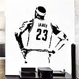 Etiqueta de la pared de baloncesto, la superestrella del baloncesto LeBron James, calcomanía de pared de vinilo extraíble, decoración de la habitación del niño