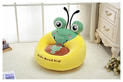 qingfeng Sofá de dibujos animados para niños, cómodo PP de algodón, con diseño de rana y abeja, tamaño pequeño, portátil, regalo para niños (color: amarillo, altura: 50 cm)