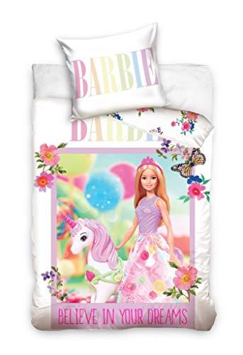 Barbie Funda de edredón reversible para bebé, 100 x 135 cm + funda de almohada de 40 x 60 cm, color rosa