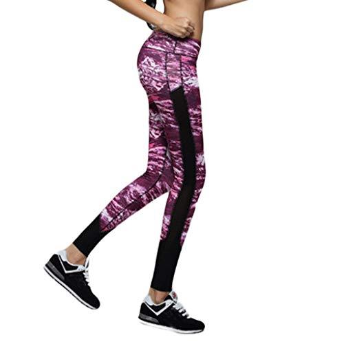 Delolito Jogginghosen Damen Mode Sexy Tarnung Gedruckt Yogahosen Taschen Hohe Taille Laufen Sport Fitness Leggings (F3,Large)