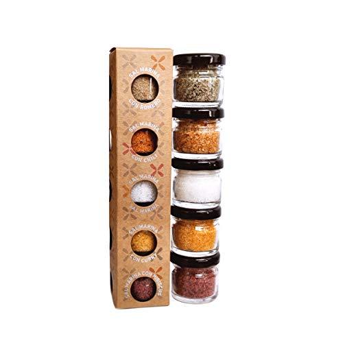 GLOSA MARINA - Sal Marina 5er Gourmet Salze Set No.1 - Meersalz aus Mallorca als ideales Gewürze Geschenkset Salzset (5x25g)